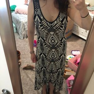 Black tan and white high low maxi dress